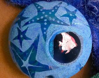 "Lampwork Glass Bead SRA ""Sea Window"" Handmade Sandblasted Focal Bead Faceted Lentil, Copper Inclusions, Iridescent Lustre ~ True Blue"