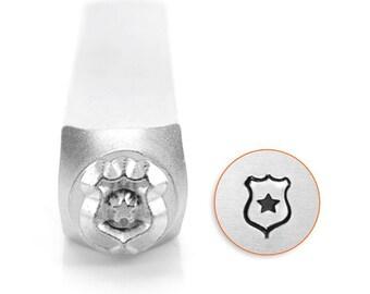 Police Badge Metal Design Stamp ImpressArt- 6mm Design Stamp-Steel Stamps-Metal Supply Chick-New-sc1525L6m