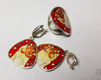 Silver Cloisonne Red Enamel Ring, Earrings Cloisonne Set. Klimt jewelry, Red jewelry, hot enamel. Bright Colorful jewelry, Red ring, modern
