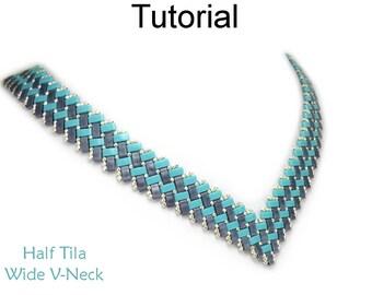 Beaded Necklace Beading Tutorial Pattern - Miyuki Half Tila Two Hole Beads - Simple Bead Patterns - Half Tila Wide V-Necklace #27077