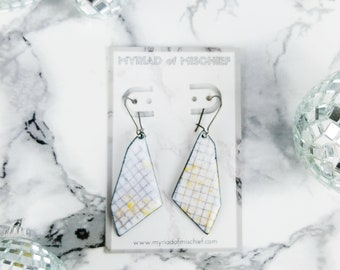 Black and White Grid Print Enamelled Geo Dangle Earrings with Gold Flecks