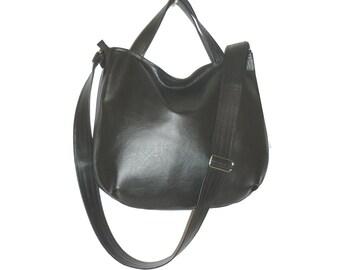 black crossbody bag, black hobo bag, black vegan crossbody bag, black vegan hobo bag, black faux leather crossbody bag, black crossbody tote