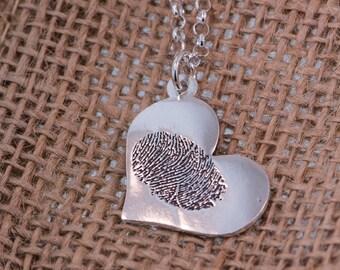 Heart FingerPrint Silver Pendant .