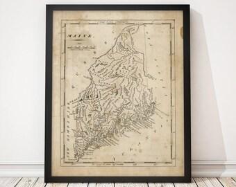 Maine Map, Antique Map Art Print, 1816, Archival Reproduction
