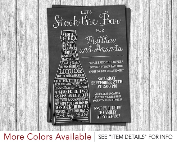 Stock the Bar Invitation Engagement Party Invitations