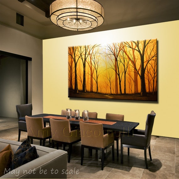 Extra Large Wall Art Painting Modern Forest Trees Landscape