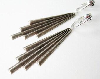 Silver Art Deco Clip-on Earrings, Antiqued Silver Comet Trail Clip Ons, Long Curtain Fold, Metallic Geometric Fan Earrings
