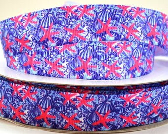 "7/8"" Starfish and Blue Seashell Print Grosgrain Ribbon"