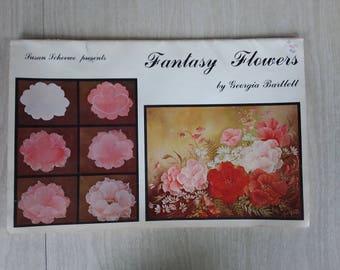 Vintage Georgia Bartlett Fantasy Flowers/Clip Art/Coloring Book