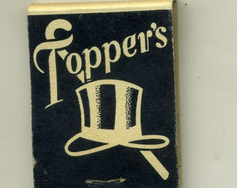 Advertising Matchbook Toppers Restaurant Miami Beach Florida Top Hat Graphics Vintage Matches