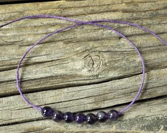 Amethyst Bracelet, Wish Bracelet, Chakra Bracelet, Crown Chakra, Hemp Bracelet, Crystal Healing, Meditation Bracelet, Yoga Bracelet, Stack