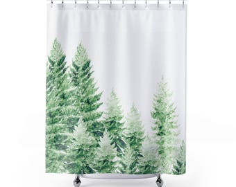 Pine Tree Shower Curtain, forest shower curtain, pine tree curtain, tree shower curtain, green shower curtain