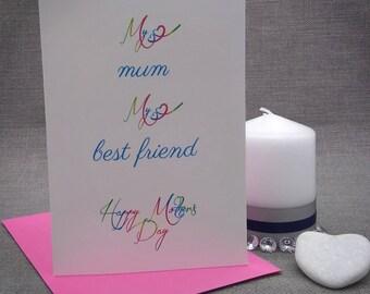 My mum, My best friend | Mothers Day Card | Mum Cards |