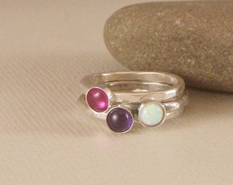 Stacking Rings, Mothers ring, Birthstone Rings in Sterling Silver set of three, stacking rings