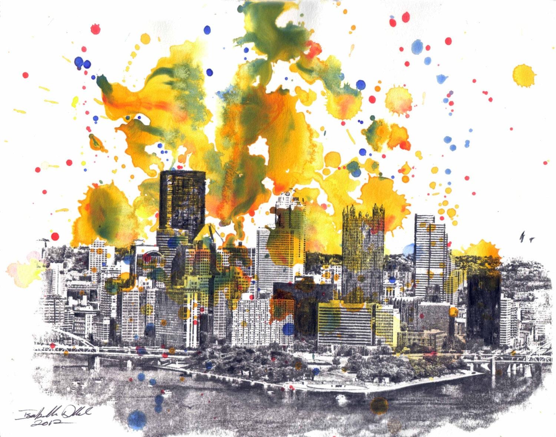 Pittsburgh Skyline Art Print Landscape Art Print From Original