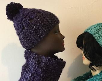 Purple Keilidesope Hat and Cowl Set