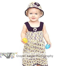 Springtime Style Girls Sundress and Matching Hat Pattern with Blossoms all sizes 3mos - 4yrs
