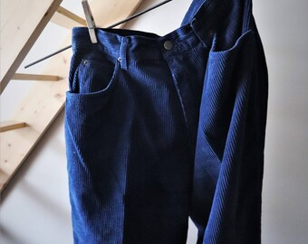 VTG velvet pants corduroy blue / / Vintage Blue Velvet Pants / / Casual Look