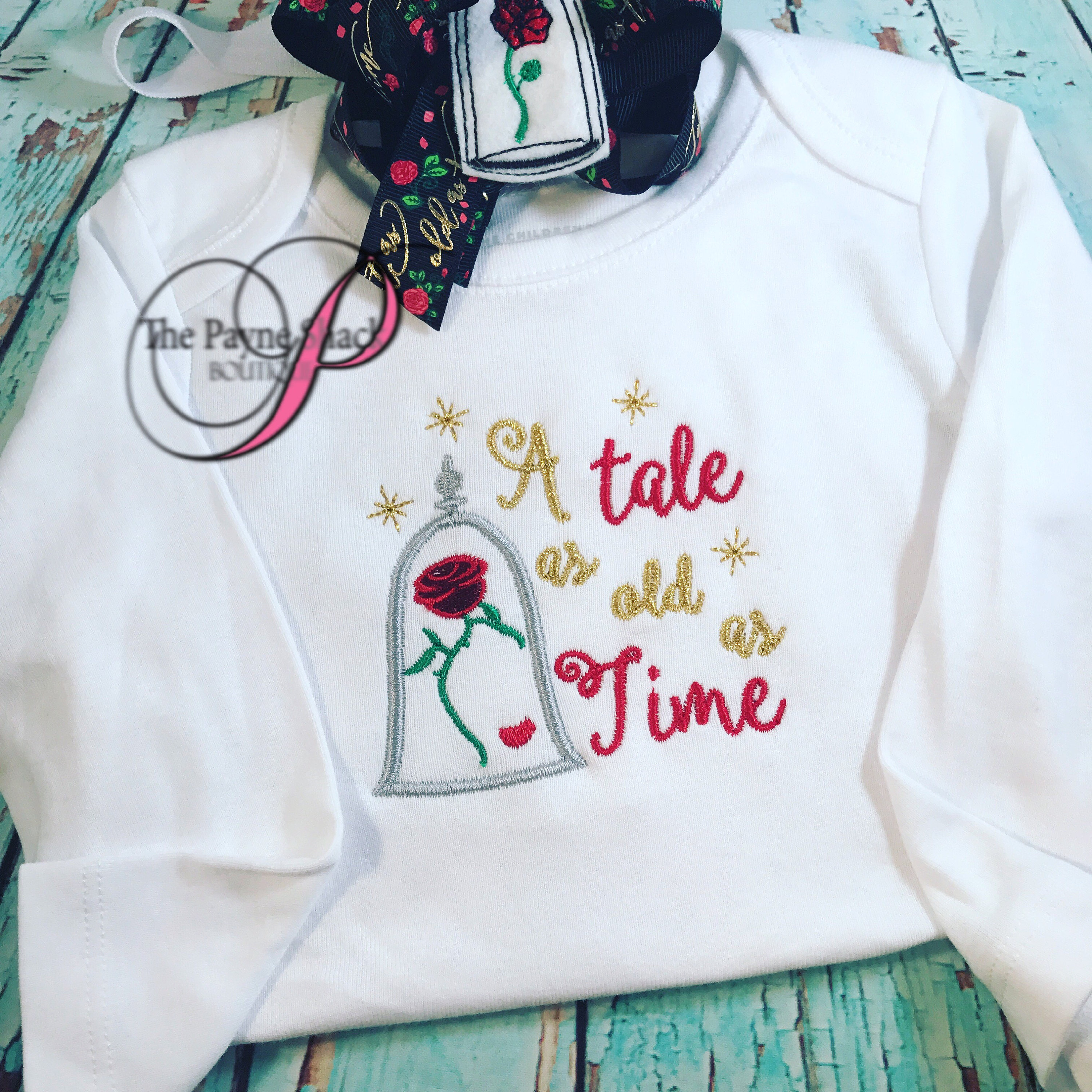 Tale as old as time Embroidered Bodysuit Take Home Outfit Baby