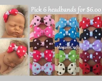 Set of Six (6) Headband. Choose 6 Color. Teen/Adult Headband. Newborn Babies Girls Headband.