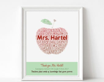 TEACHER Gifts - Personalized Apple Print with Student Names - Custom Typography Art Print - Personalize with Name, School, Grade, Year