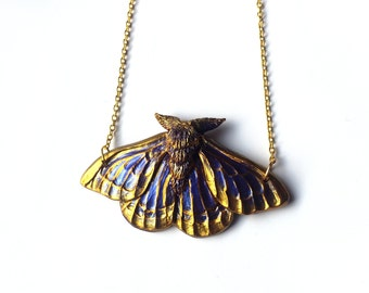 Purple and Gold Moth Necklace - Resin Necklace - Resin Moth Pendant - Gothic Jewelry - Gothic Moth Necklace - Sculpted Necklace - Resin Art
