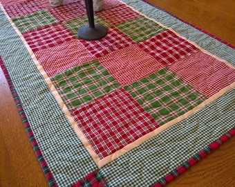 Quilted Homespun Christmas Table Runner