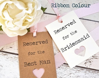 7 Rustic Wedding Reserved Sign Tags Personalised. 21 Colour Options, with Heart Cut Out Detail. Lace, Twine or Ribbon. Kraft Wedding Sign