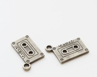 12pcs Antique Brass Base Metal Charms-Recorder Tape or Cassette  24x12mm (9811Y-P-224B)