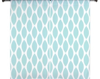 Chiffon Curtains - Girls Curtains - Bedroom Curtains - Sheer Curtains - Dorm Room Curtains - Teen Curtains - Teen Decor - Aqua - Blue
