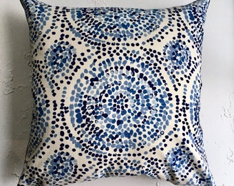 Blue Mosaic Floor Pillow Covers, Extra Large Pillows, Blue Medallion Decorative Pillow Covers, Mosaic Tile pattern, Floor Pillow Cushion