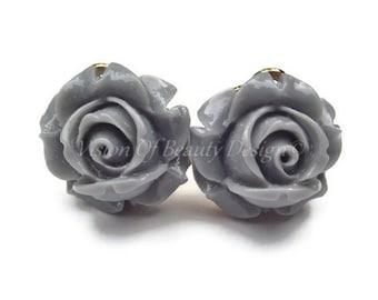 Grey Rose Flower Clip On Earrings