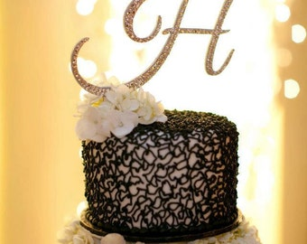 Cake Topper - Custom Monogram with Swarovski Crystals