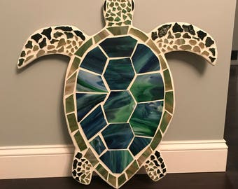 Mosaic stained glass sea turtle