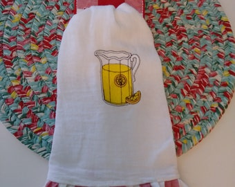 Flour Sack Tea Towel With Towel Holder,  Lemonade Pitcher With  Charming Check Ruffle (Made from Pioneer Woman Flea Market Napkin)