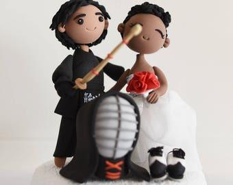 Fencing couple custom wedding cake topper