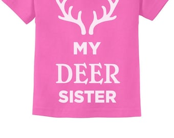 Deer Sister Reindeer Antlers Siblings Xmas Toddler Kids T-Shirt