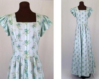 Vintage 70's Maxi Dress Pastel Blue Floral Print Cotton Blend Size S