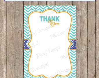 Thank You Note Card - Blue, Orange, Teal Chevron Baby Shower Printable 4x6 Thank You Note Cards-  lm1 INSTANT DOWNLOAD