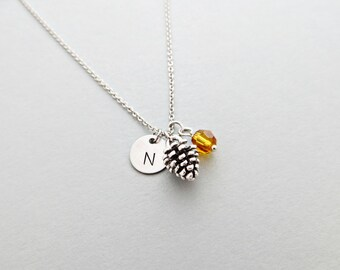 Pinecone Initial Necklace Personalized Hand Stamped - with Silver Pinecone Charm and Custom Bead