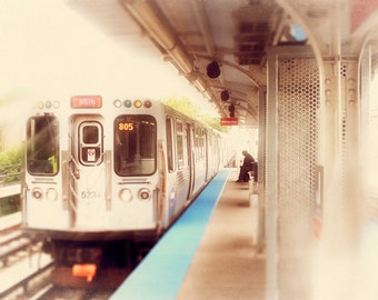 Chicago CTA train photography | red line train | wall art prints | home decor | L train | urban wall decor | golden, teal, crimson, orange
