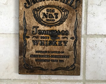 Wooden jack daniels label