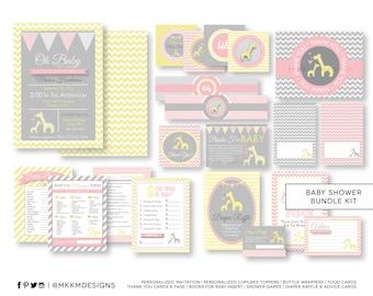 Giraffe Baby Shower Kit, Personalized Invite, Baby Shower Games, Giraffe Shower Decor, Pink and Yellow, Girl Shower, Giraffe Inserts, #G1