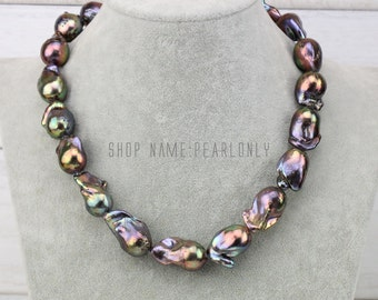 Large black baroque pearl necklace,jumbo flameball pearl necklace,metallic fireball nucleated pearl necklace,real freshwater pearl necklace