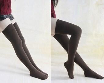 Brown Cotton Thigh High Socks Leg Warmers Over Knee Sock For Women Boot Socks Knitted Knee Socks Womens Socks zjb1143