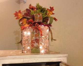 "Lighted Whitewashed Twig Fall ""Box"""