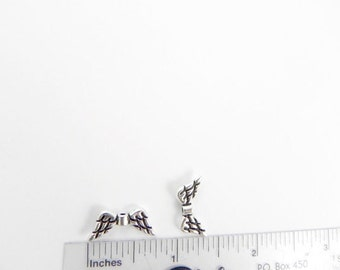 20 Angel Wings Beads - Antiqued Silver - 9mm x 20mm
