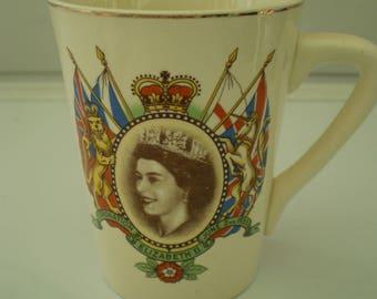 Unmarked Staffordshire Pottery Mug : H.M. Queen Elizabeth II - Coronation June 2nd 1953 - British Royalty - England