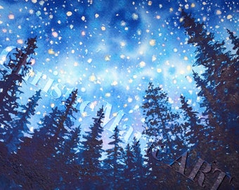 """SET OF 5 Night Stars mountain forest Watercolor Art Print Embossed Greeting Card Note """"Sierra Stars series, Camp"""" Christie Marie E Russell ©"""