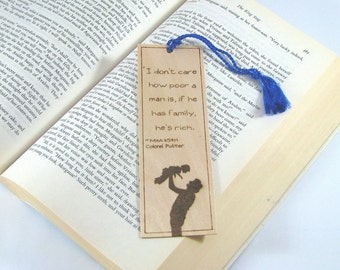 Dad Wood Bookmark - Hand Pyrography - Family Quote